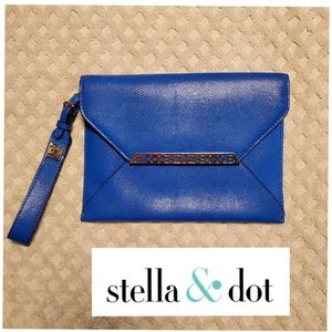 NWT Stella & Dot blue envelope clutch purse